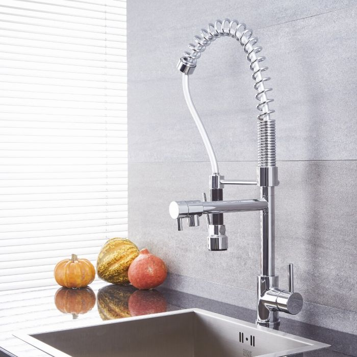 Quest Chrome Kitchen Faucet With Spring Spout And Pot Filler