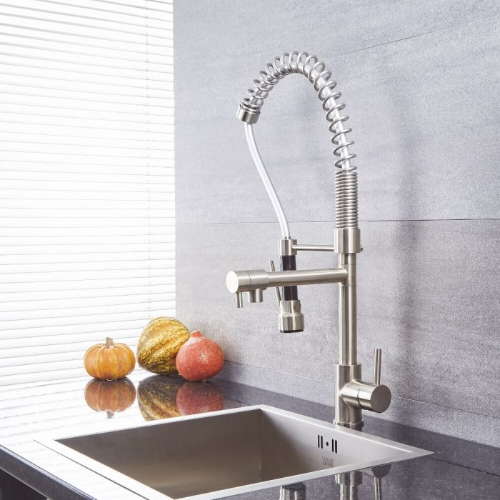 Quest - Brushed Nickel Kitchen Faucet with Spring Spout and Pot filler