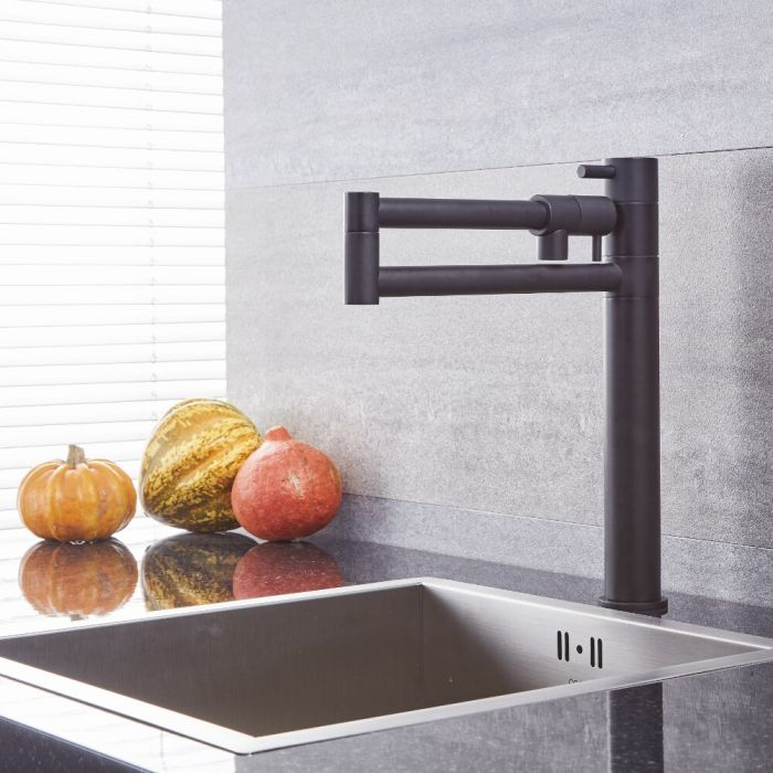 Quest - Black Retractable Kitchen Sink Mixer