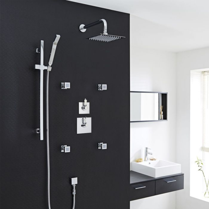 Traditional 3-Outlet Shower System with Square Head, Body Jets & Diverter Valve
