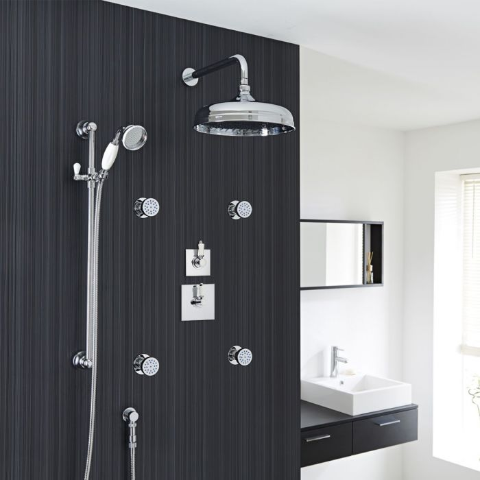 """Traditional 3-Outlet Shower System with 12"""" Apron Head, Body Jets & Diverter Valve"""