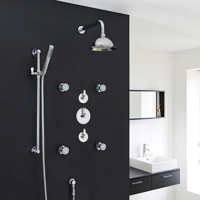 "Traditional 3-Outlet Shower System with 8"" Rose Head, Body Jets & Diverter Valve"