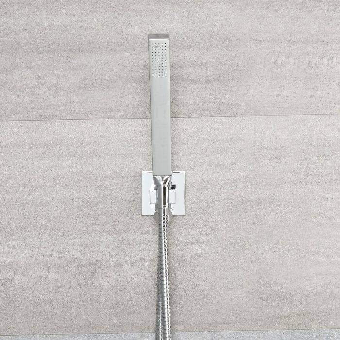 Kubix - Square Shower Kit with Integrated Outlet Elbow and Parking Bracket - Chrome