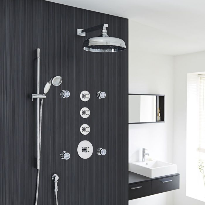 "Traditional Shower System with 12"" Apron Head, Hand Shower, Body Jets & Shut-Off Valves"