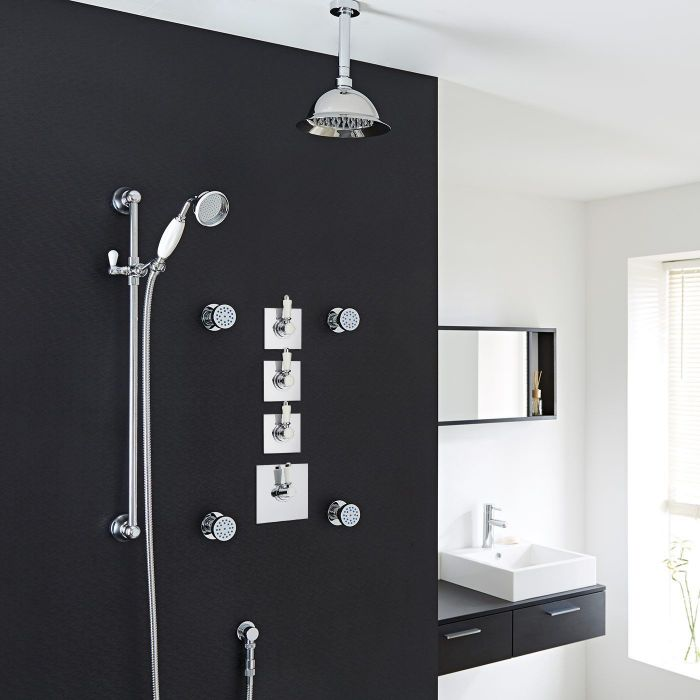 """Traditional Shower System with 8"""" Rose Head, Hand Shower, Body Jets & Shut-Off Valves"""