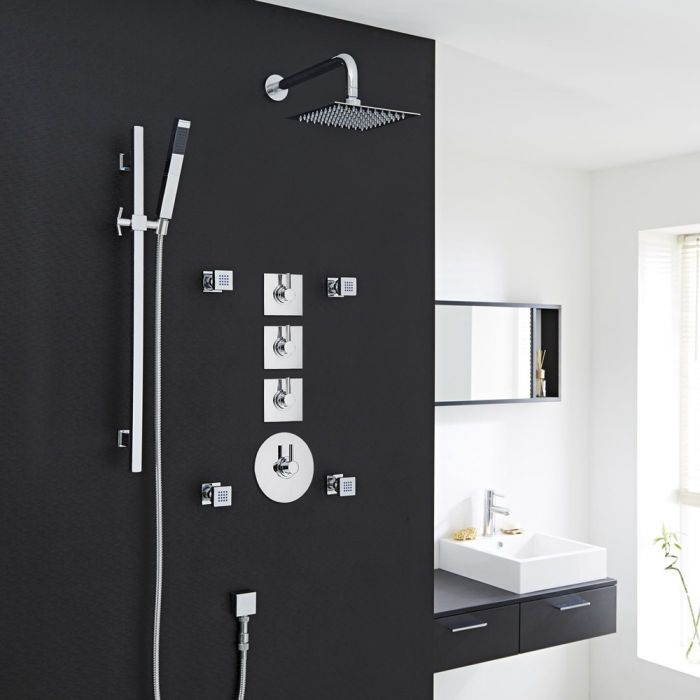 """3-Outlet Shower System with 8"""" Square Head, Body Jets & Shut-Off Valves"""