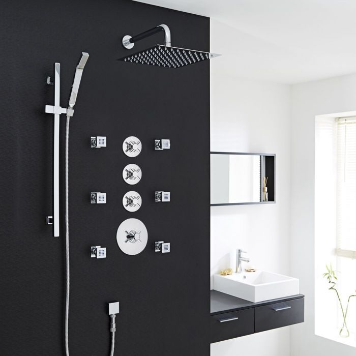 Modern 3-Outlet Shower System with Square Head, Body Jets & Shut-Off Valves