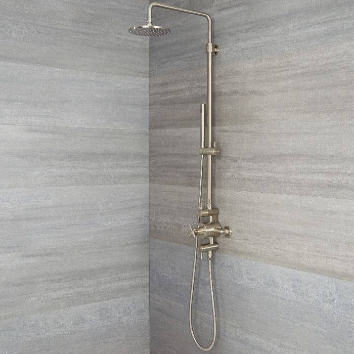 exposed pipe shower . Ufg Sbt002n Ls C Jpg Tec  Brushed Nickel Exposed Pipe Shower Column