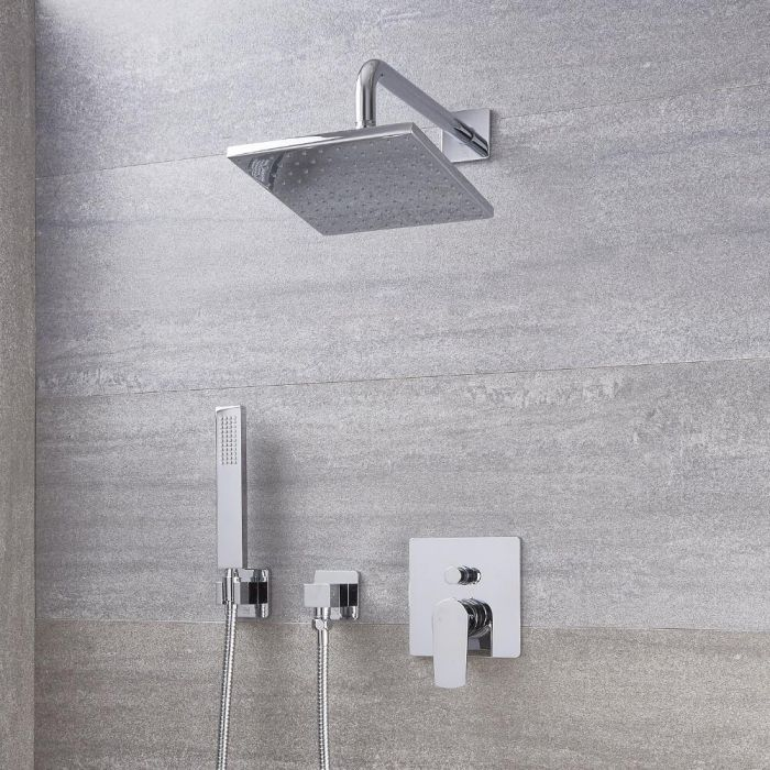 """Arcadia Chrome Shower System with 8"""" Shower Head and Handshower"""