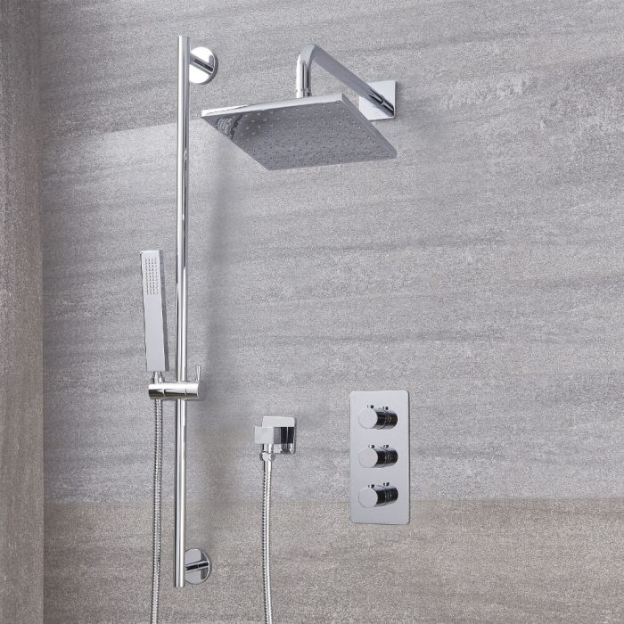 "Arcadia Thermostatic Chrome Shower System with 8"" Shower Head and Slide Rail Kit"
