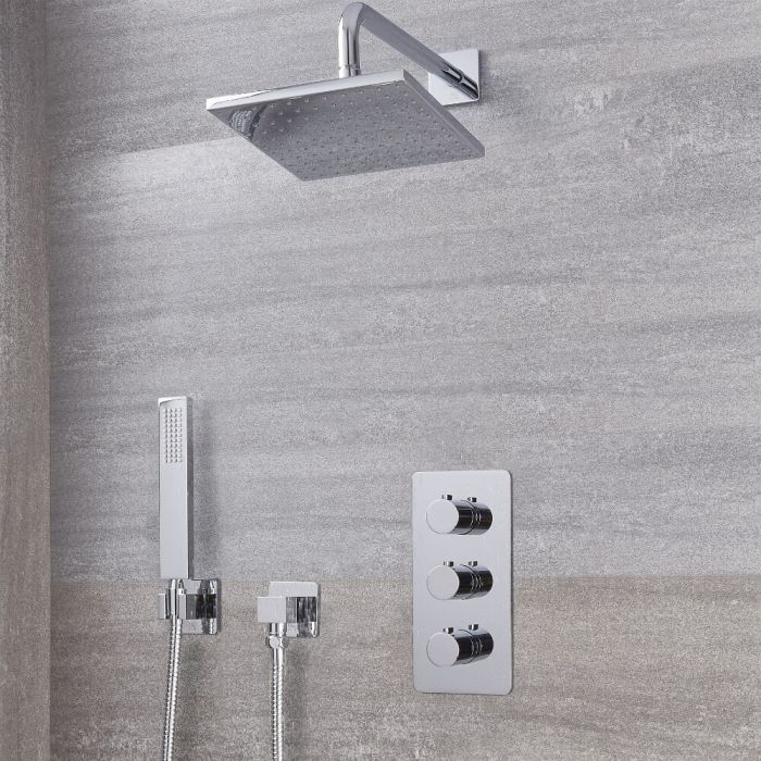 "Arcadia Thermostatic Chrome Shower System with 8"" Shower Head and Handshower"