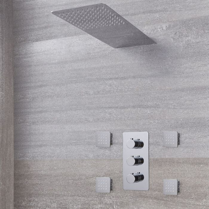 Arcadia Thermostatic Chrome Shower System with Waterfall Head and Jets