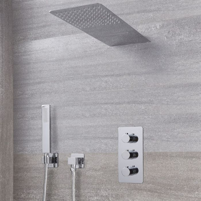 Arcadia Thermostatic Chrome Shower System with Waterfall Head and Handshower