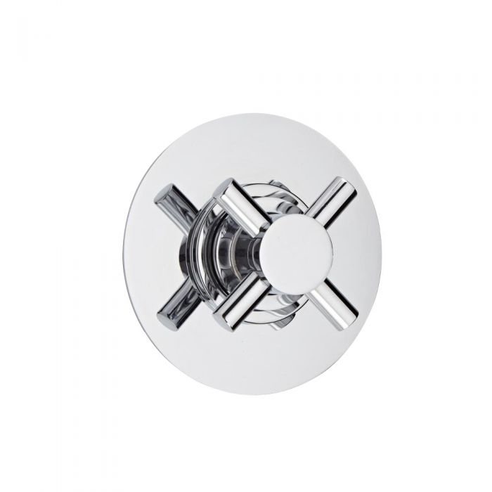 Shut-Off Shower Valve with Round Plate and Modern Crosshead Handle