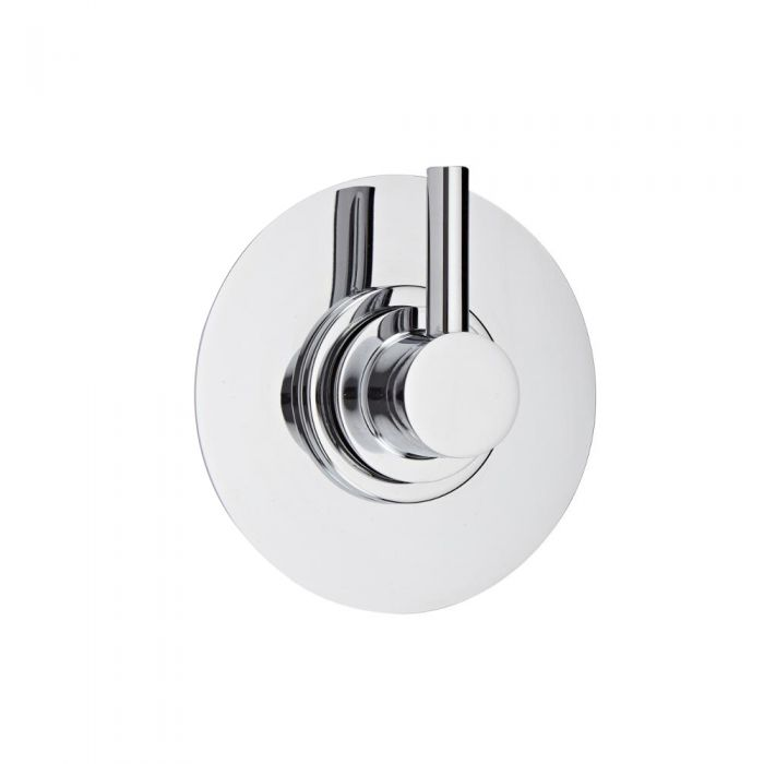 Shut-Off Shower Valve with Round Plate and Modern Lever Handle