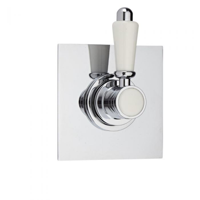 Shut-Off Shower Valve with Square Plate and Traditional Lever Handle