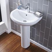 """Modern Ivo Porcelain Sink and Pedestal 20"""""""