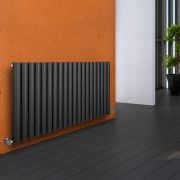 "Revive - Anthracite Horizontal Double-Panel Designer Radiator - 25"" x 46.5"""