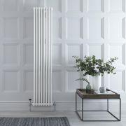 "Regent - White Vertical 2-Column Traditional Cast-Iron Style Radiator - 70.75"" x 15"""