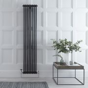 "Regent - Black Vertical 2-Column Traditional Cast-Iron Style Radiator - 70.75"" x 15"""