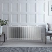 "Regent - White Horizontal 3-Column Traditional Cast-Iron Style Radiator - 23.5"" x 57.75"""
