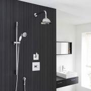 "Traditional 2-Outlet Shower System with 8"" Rose Head, Hand Shower & Diverter Valve"