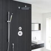 "2-Outlet Shower System with 12"" Round Head, Hand Shower & Diverter Valve"
