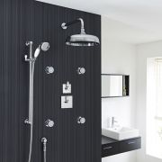 "Traditional 3-Outlet Shower System with 12"" Apron Head, Body Jets & Diverter Valve"