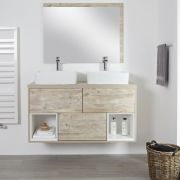 "Hoxton – 47.25"" Light Oak Console Double Vessel Sink Vanity"