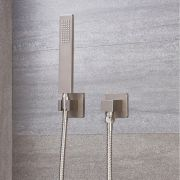Arcadia Sqaure Brushed Nickel Shower Kit with Integrated Outlet Elbow and Parking Bracket