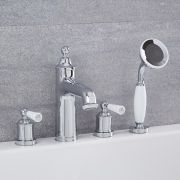 Colworth - Traditional Chrome Roman Tub Faucet with Hand Shower
