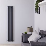 "Revive - Anthracite Vertical Double-Panel Designer Radiator - 63"" x 9.25"""