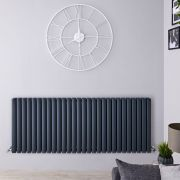 "Revive - Anthracite Horizontal Double-Panel Designer Radiator - 25"" x 64.75"""