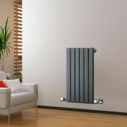 "Delta - Anthracite Horizontal Single Slim-Panel Designer Radiator - 25"" x 16.5"""