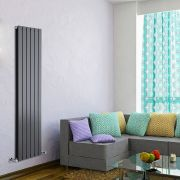 "Delta - Anthracite Vertical Double Slim-Panel Designer Radiator - 63"" x 16.5"""