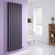 "Edifice - Anthracite Vertical Double-Panel Designer Radiator - 63"" x 22"""