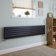"Sloane - Black Horizontal Double Flat-Panel Designer Radiator - 14"" x 63"""