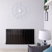 "Delta - Black Horizontal Double Slim-Panel Designer Radiator - 25"" x 46.75"""