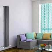 "Delta - Black Vertical Single Slim-Panel Designer Radiator - 63"" x 11"""