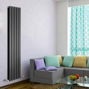 "Delta - Black Vertical Double Slim-Panel Designer Radiator - 63"" x 13.75"""