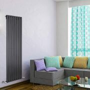 "Delta - Black Vertical Single Slim-Panel Designer Radiator - 63"" x 22"""
