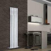 "Delta - Chrome Vertical Single Slim-Panel Designer Radiator - 63"" x 14.75"""