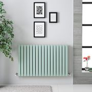 "Sloane - Mint Green Double Flat Panel Horizontal Designer Radiator - 25"" x 39.5"""