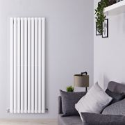 "Revive - White Vertical Double-Panel Designer Radiator - 63"" x 23.25"""
