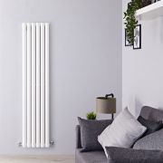 "Revive - White Vertical Double-Panel Designer Radiator - 63"" x 14"""