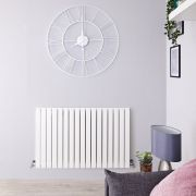 "Sloane - White Horizontal Single Flat-Panel Designer Radiator - 25"" x 32.75"""