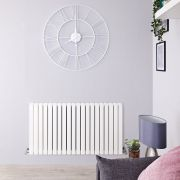 "Sloane - White Horizontal Double Flat-Panel Designer Radiator - 25"" x 46.5"""