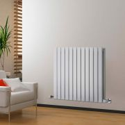 "Delta - White Horizontal Double Slim-Panel Designer Radiator - 25"" x 33"""