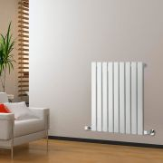 "Delta - White Horizontal Single Slim-Panel Designer Radiator - 25"" x 24.75"""