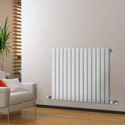 "Delta - White Horizontal Single Slim-Panel Designer Radiator - 25"" x 38.5"""